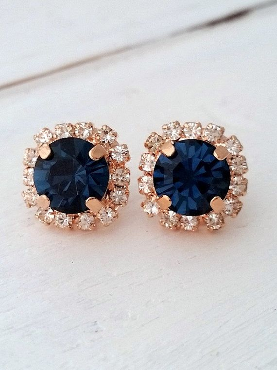 Rose gold Navy blue earrings,navy blue bridesmaid gifts,studs,Swarovski crystal stud earrings, Bridal earrings,navy blue stud earrings Lovely and chic. These earrings have so much sparkle that my camara cant catch.... they are so elegant . Perfect gift for bridesmaids or for any other occasion. They are made of rose gold plated brass and Swarovski crystals, all set in prong setting. Total earrings diameter is 12.5 mm. AVAILABLE ALSO IN YELLOW GOLD PLATE ROSE GOLD PLATE, SILVER AND OXIDIZ...