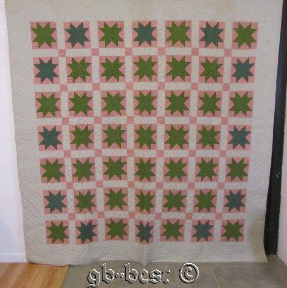 Museum Find 1840 50s Green Stars Antique Quilt Pennsylvania Quilt Blue 88 x 84 C | eBay