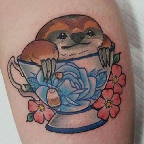 sloth tattoo tea cup google search tattoos pinterest luiaard tattoeage theekopjes en. Black Bedroom Furniture Sets. Home Design Ideas