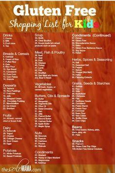 Gluten free Grocery Shopping List