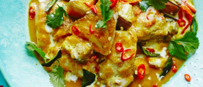 Tilapia & Aubergine Coconut Curry by Shelina Permalloo