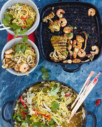 lucky squid 'n' prawns, spicy vegetable noodle broth | Jamie Oliver | Food | Recipes (UK)