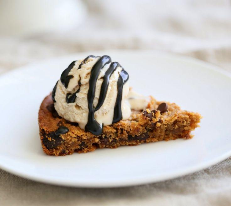 Peanut Butter Chickpea Cookie Pie. Chickpea Peanut Butter Cookies. Deep dish Cookie Pie. Fudgy Chocolate Chip Chickpea Cookie Pie Recipe. Vegan Gluten-free Soy-free Recipe | VeganRicha.com