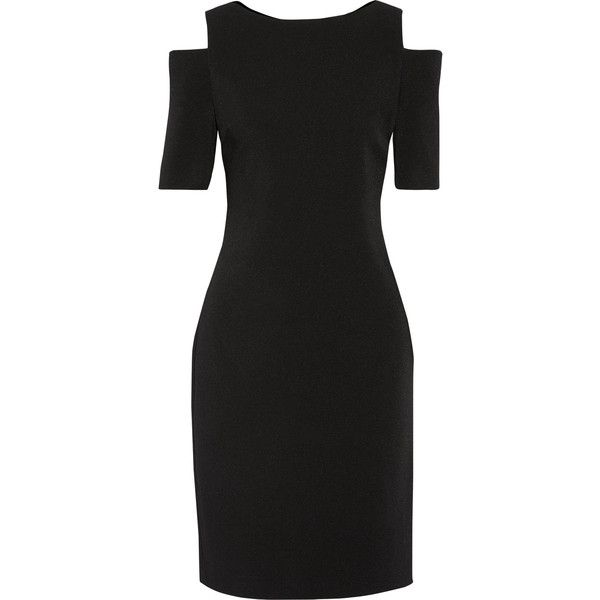 MICHAEL Michael Kors Cutout stretch-crepe dress (£185) ❤ liked on Polyvore featuring dresses, stretch crepe dress, cold shoulder dress, cut out shoulder dress, little black dress and little black cut out dress