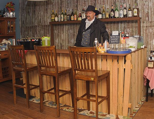 Blog Posts | Night of Mystery – Downloadable Murder Mystery Parties - This is a cool homemade saloon bar!