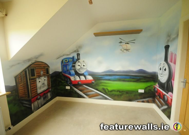 murals for boys room this hand painted thomas the tank engine mural with his friends