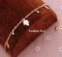 yeni moda popüler kız kaplama altın metal kristal bilezik ve bilezik çekicilik zinciri yaprak bilezik takı toptan kadınlar için(China (Mainland))