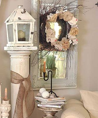 Love the lantern and the natural wreath