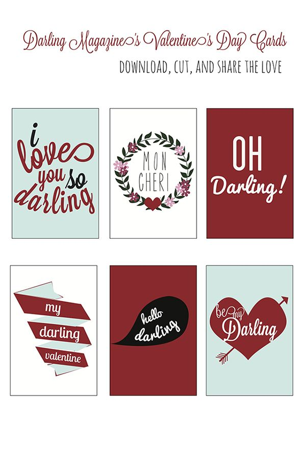 Printable Valentine's Day Cards | Darling Magazine