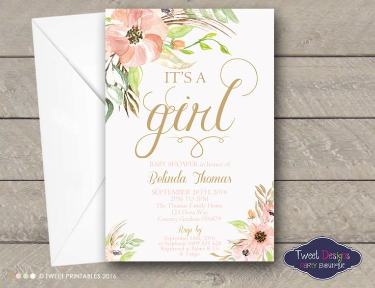Floral Baby Shower Invitations, Printable Baby Shower Invitations, Baby Sprinkle Invitations, Watercolor Flowers, Peach and Gold