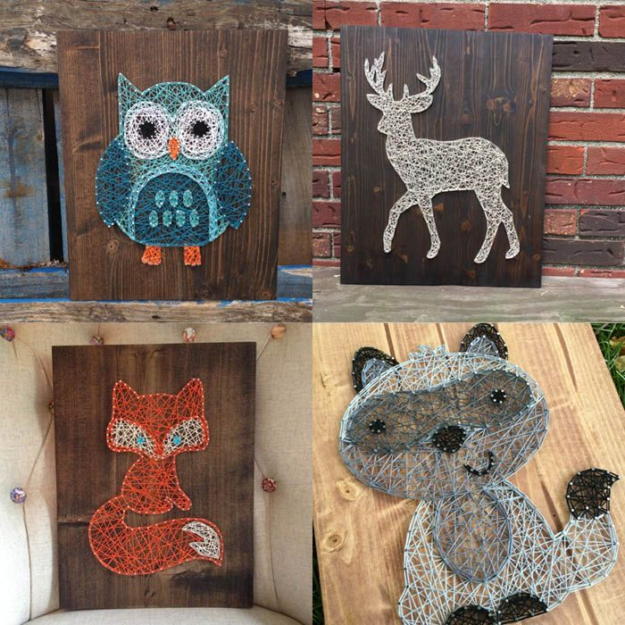 diy woodland animal string art decor - www.lovelucygirl.com