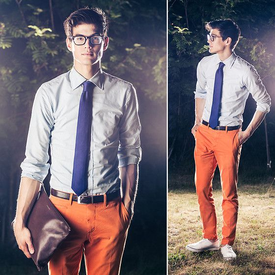 I should try to get my husband to wear this stuff :) Coach Portfolio, Gap Orange, Calvin Klein Tie