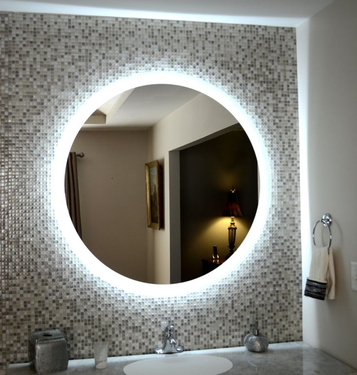 Round Mirror With Light Side Lighted Led Bathroom Vanity Mirror 48 Wide X 48