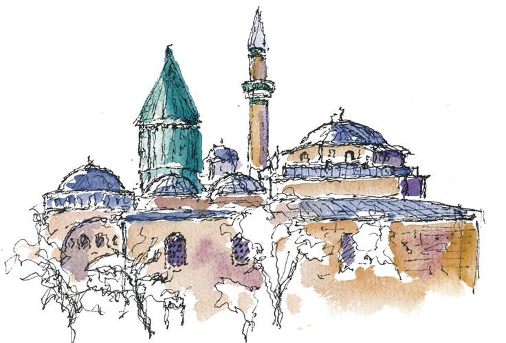 Mevlana Museum and Tomb, Turkey. Watercolours by Ole Sondergaard