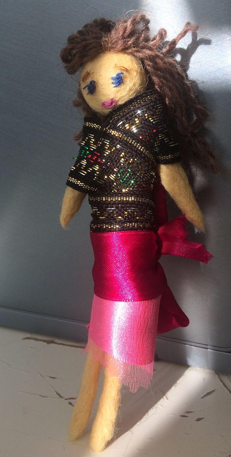 Кукла из валяной  шерсти, тесьма, ленты, нитки, шерсть, ручная  работа, своими руками