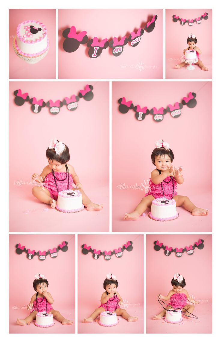 Minnie Mouse Cake Smash Birthday Baby Photography Abba