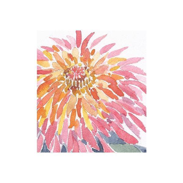Original Watercolor Painting Flower Painting Garden Art Pink Wildflower Mum ($28) found on Polyvore featuring home, home decor, wall art, chrysanthemum painting, flower stem, water color painting, water colour painting and pink flamingo painting
