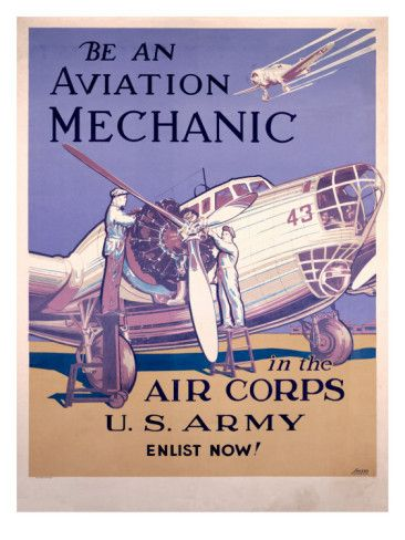 WWII AAF Army Air Corps Aviation Mechanic Poster Premium Poster