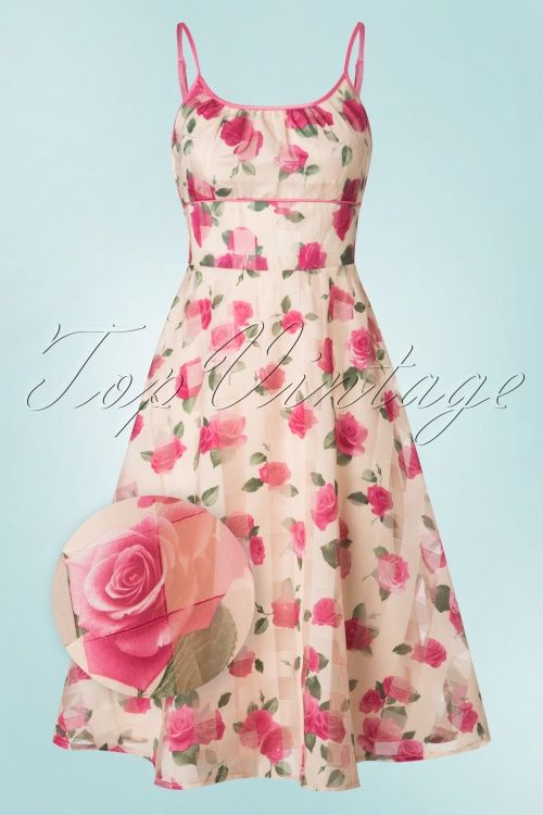 Voodoo Vixen Tabitha Beige Floral printpink Swing Dress jurk beige roze bloemen print