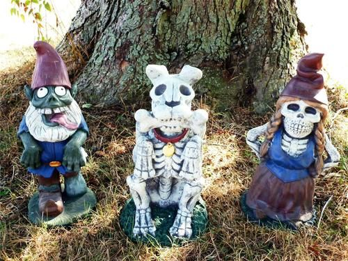 Halloween yard garden decoration large 18 zombie gnome family skeleton dogprop gnomes and for Gnome 3 decoration fenetre