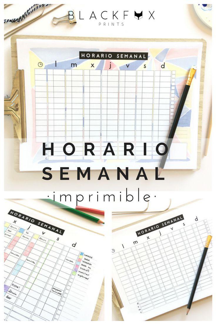 Horario semanal. Planificador imprimible semanal. Organizador de tareas semanales. Agenda semanal imprimible. Tamaño a4. Un horario para planear la semana, sencillo pero con un montón de caracteristicas para hacerte la vida mucho más fácil. Todo es más fácil cuando tienes un plan.