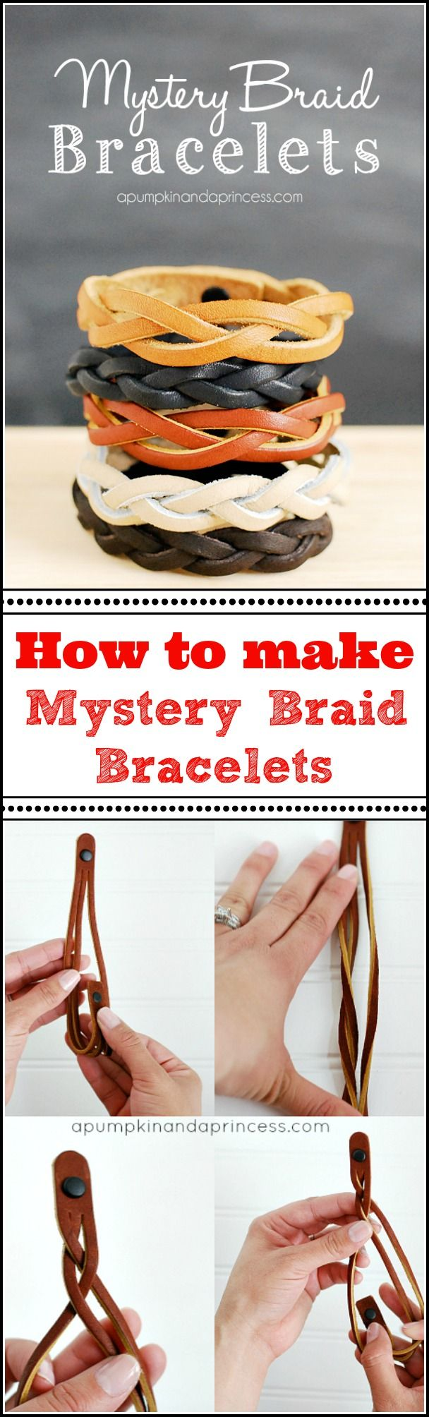 How to make a Mystery Braid Bracelet - A Pumpkin And A PrincessLeather Crafts, Crafts Ideas, Diy Crafts, Leather Jewelry Diy Ideas, Gift Ideas You V, Diy Bracelets, Braids Leather, Diy Projects, Braided Leather