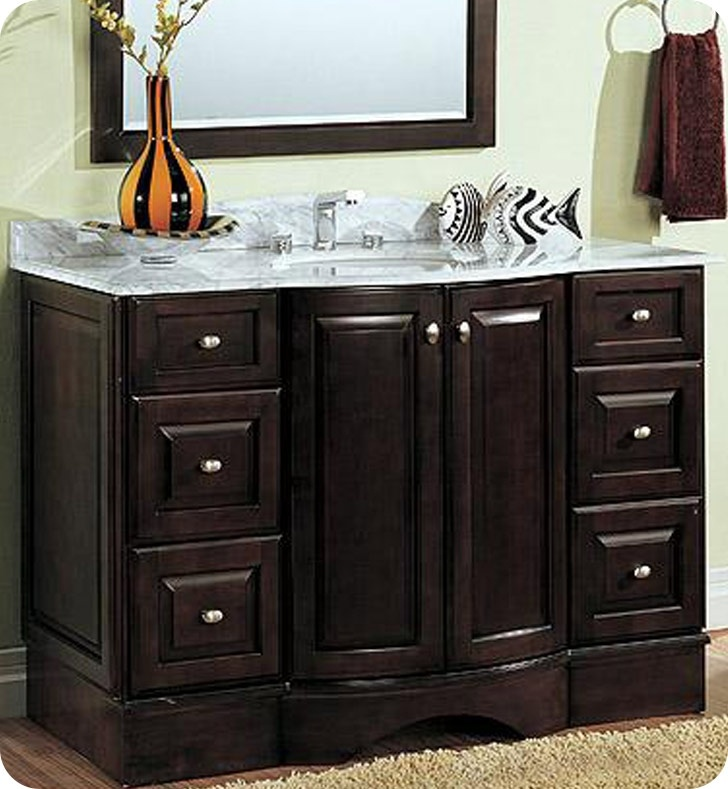 Fairmont designs town country 48 transitional curved for Espresso bathroom ideas