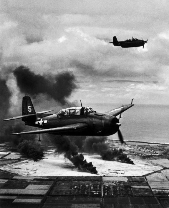 WORLD WAR II. The Pacific Campaign. Marshall Islands. 22 February 1944. Tinian Island (occupied by the Japanese). US Navy Avenger fighter bombers.