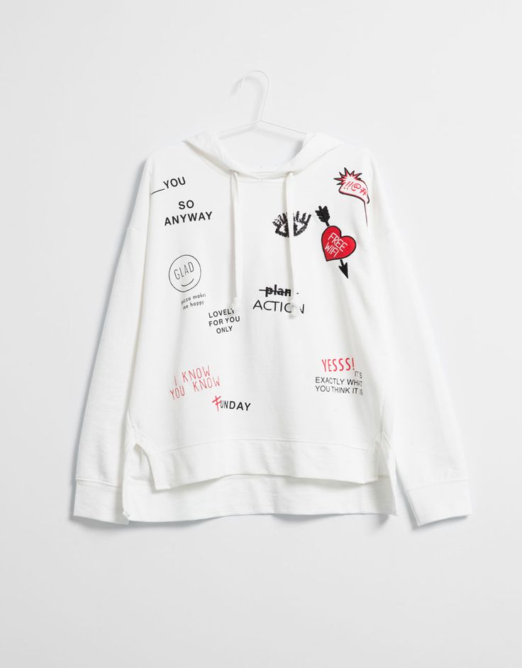 BSK hooded sweatshirt with embroidered patches - Girl - Bershka Turkey