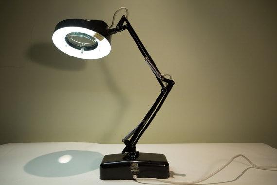 Vintage Luxo Desktop Industrial Magnifying Light Vintage