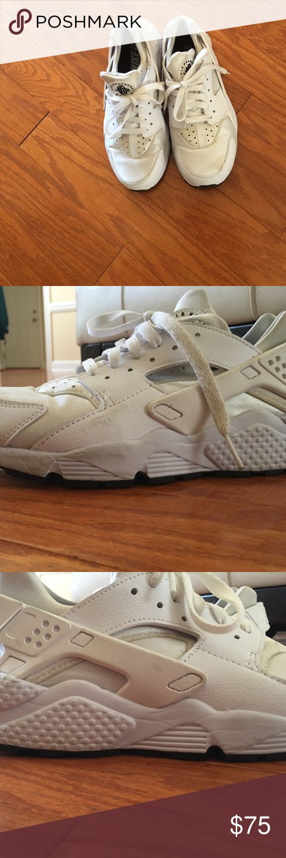 Black and White Nike ID Huaraches This a pair of customized Nike Air Huaraches. These are in fair condition and need cleaning. I have worn the shoes many times, but I will ship them in the best condition. The shoes came from Nike ID. They do fit snug. Nike Shoes Sneakers