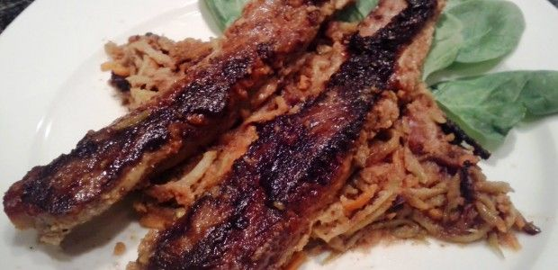 Asian Pork Ribs over Tangy Slaw - Slaw reminded me of thai peanut sauce. Very tasty!