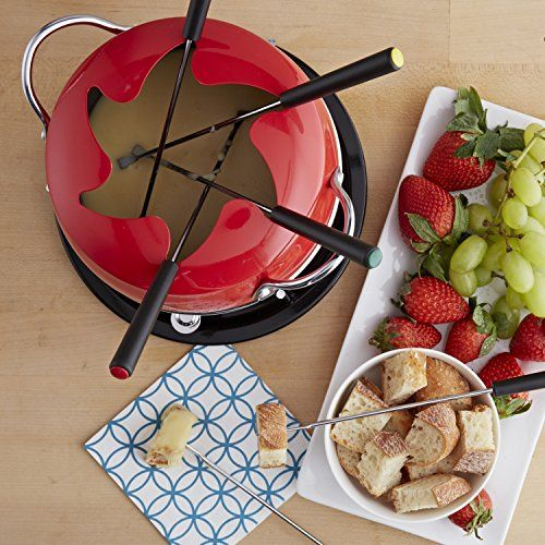 GKM-61023 Options: -Set includes fondue pot, 6 forks, warming stand, burner and snuffer. -GlobalKitchen collection. -Fondue pot Subject matter: Carbon steel with nonstick surface. -Color: Red. -Fondue pot with fork rest lid. -6 Fondue forks with multicolored Guidelines. Sort: -Fondue Sets. Subject matter: -Aluminum. Color: -Red. Choice of Pieces Included: -10. Dimensions: Overall Height