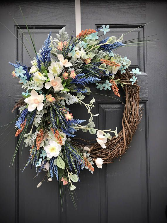 Spring Wreath Spring Door Wreath Gift for Her Colorful