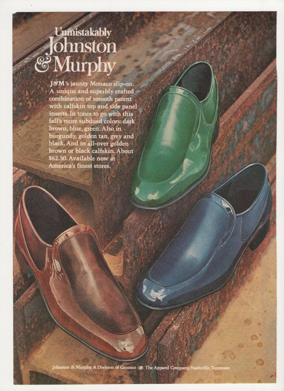1974 Johnston and Murphy Shoes Advertisement 70s Mens Footwear Fashion Bright Blue Green Loafers Monaco Slip On Wall Art Decor