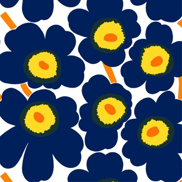 Pieni Unikko 2 Fabric in whie, d.blue, yellow – Bolt of Cloth