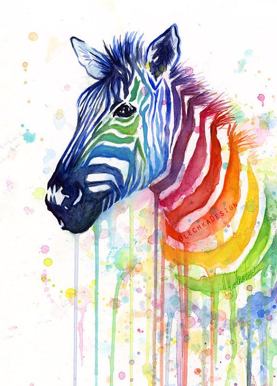 Watercolor Painting Rainbow Zebra Colorful Animal by OlechkaDesign, $12.00