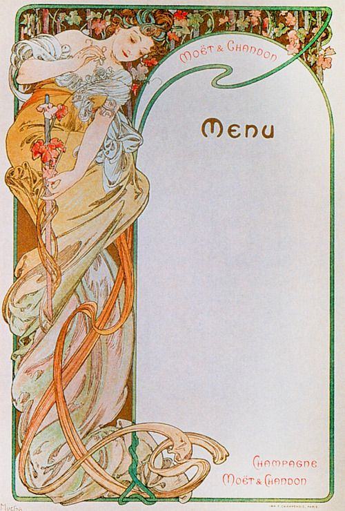 Menus by Alphonse Mucha for a Moet et Chandon (Champagne) Event, circa 1900