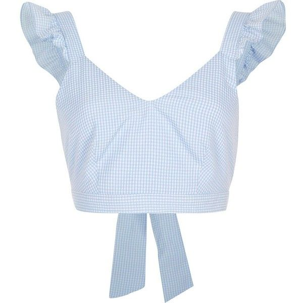 River Island Blue gingham frill shoulder crop top (315895 PYG) ❤ liked on Polyvore featuring tops, crop top, shirts, crop, blue, crop tops / bralets, women, print crop tops, sleeveless crop top and cropped shirts