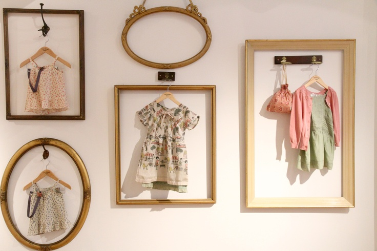 Display old baby clothes - laundry room or sewing / craft room. Cute idea!
