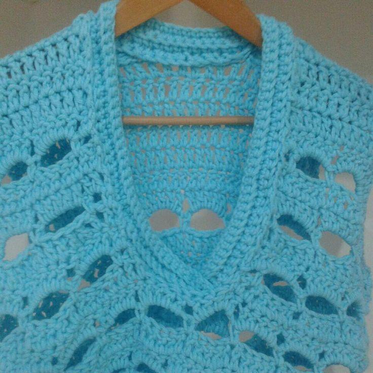 Jersey sin mangas a crochet con punto bareta