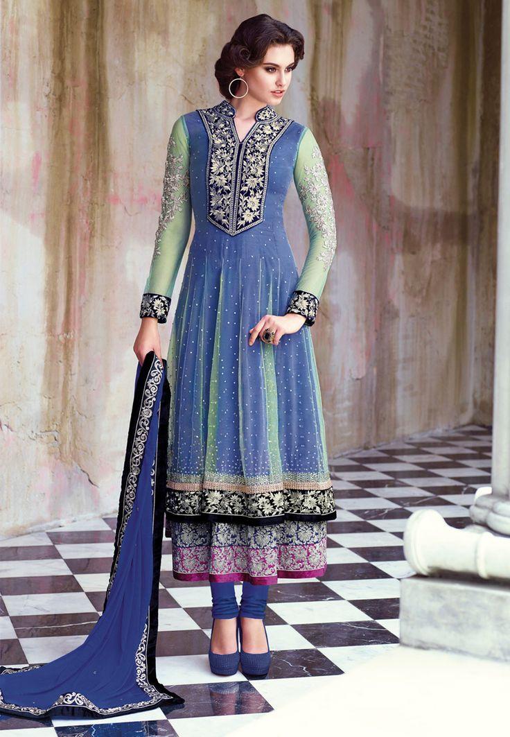 #Blue and Sea Green Net #Anarkali Churidar Kameez Online Shopping: KWY689