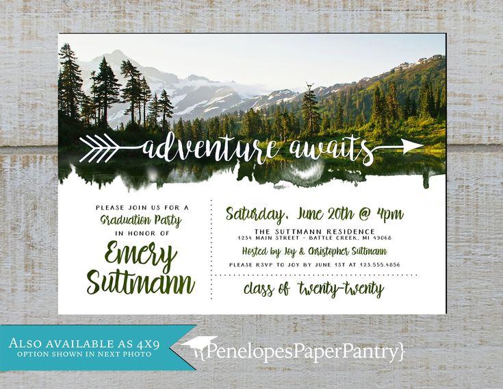 Adventure theme graduation party invitationannouncement