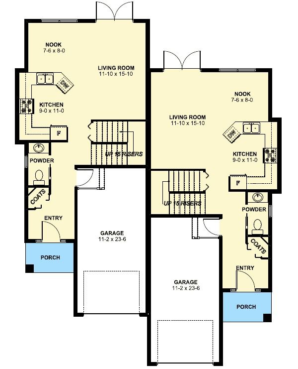 Plan 67718mg duplex house plan for the small narrow lot for Small duplex floor plans