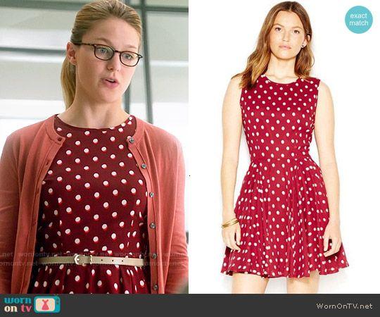 Kara's red polka dot dress on Supergirl.  Outfit Details: http://wornontv.net/53729/ #Supergirl