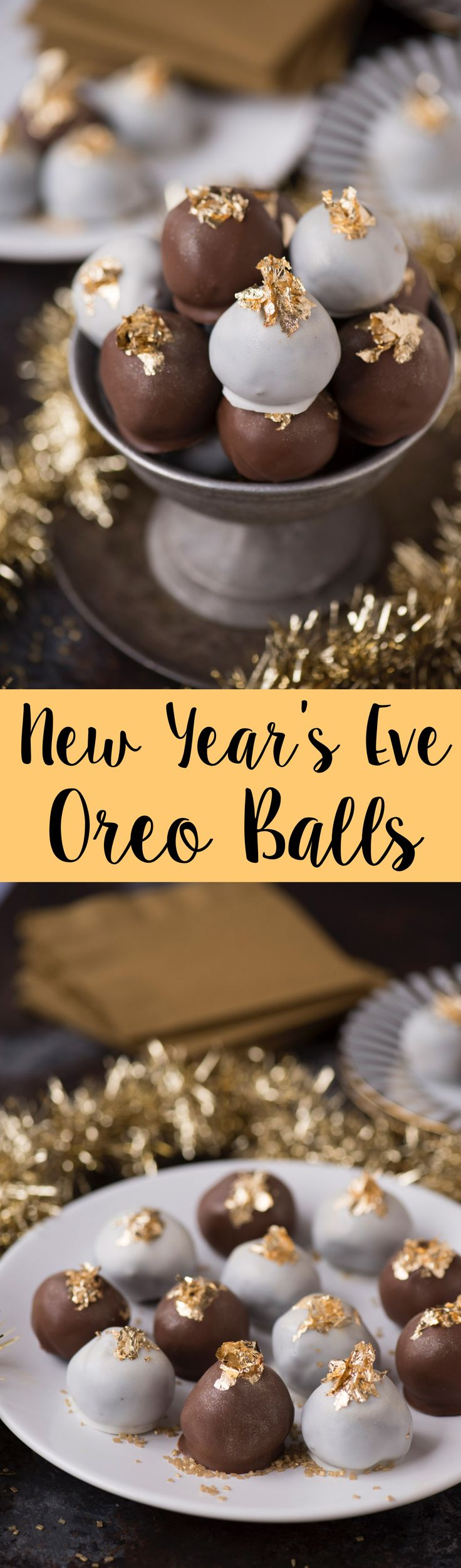 Gold and glittery New Year's Eve oreo balls! Dipped in chocolate and white chocolate, decorated with edible gold leaf! Plus there is a star sprinkle hidden inside each!