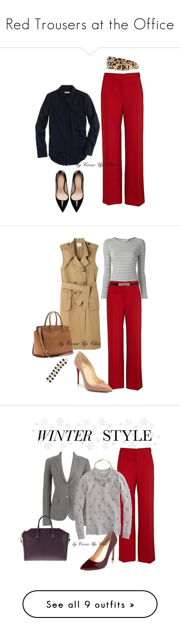 """Red Trousers at the Office"" by cover-up-chic on Polyvore featuring J.Crew, River Island, Zara, Tory Burch, Band of Outsiders, St. John, MICHAEL Michael Kors, Ivanka Trump, Givenchy and Kenneth Cole"