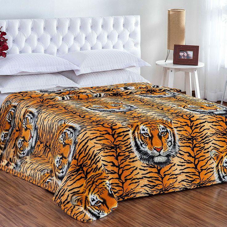 Cobertor / Manta Microfibra Maya Animal Print Tigre Rosto 2 - Casa Baher