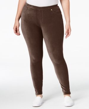 Michael Michael Kors Plus Size Corduroy Leggings - Brown 0X