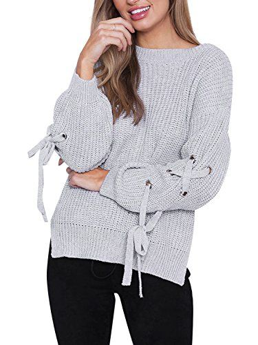 Dearlovers Women s Lace up Long Sleeve Knitted Sweater Pullover Loose Top 6e8332b21